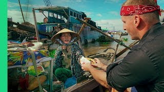 Download Magical FLOATING MARKET TOUR in Cai Rang, Vietnam! (Bun Thit Nuong and Water Banh Mi??) Day 4 Video