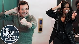 Download Michelle Obama and Jimmy Fallon Surprise People in 30 Rock Elevators Video