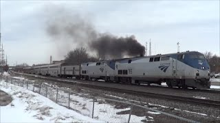 Download Smoking Engine Leads Amtrak Out of Ottumwa Station Video