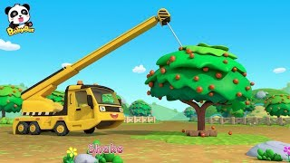 Download Toy Car Story: Waterwheel, Tractor, Crane | Baby Panda Plants Apple Trees | BabyBus Video