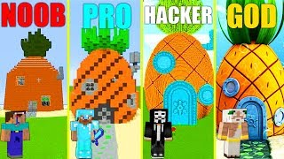 Download MINECRAFT BATTLE: NOOB vs PRO vs HACKER vs GOD: SPONGEBOB HOUSE CHALLENGE in MINECRAFT (Animation) Video