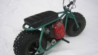 Download Fat Tire Homemade Custom minibike in the snow with gc160 honda Video