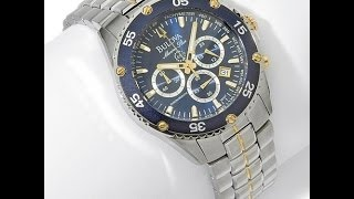 Download Bulova Men's Blue Dial Marine Star Watch Video