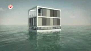 Download Building a floating house, showing the concept of construction Video