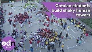 Download Catalan students build shaky human towers Video