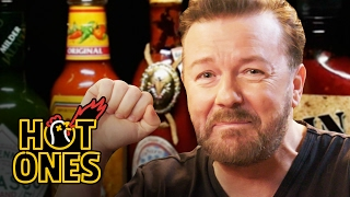 Download Ricky Gervais Pits His Mild British Palate Against Spicy Wings | Hot Ones Video