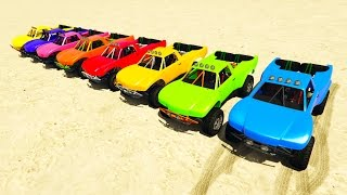 Download COLOR OFFROAD CARS Jump on ramp! Cartoon 3D animation for kids. Video