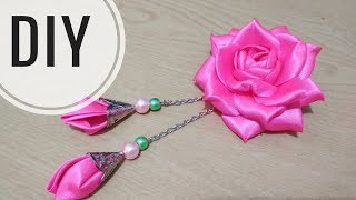 Download DIY || Cara membuat mawar cubit pita satin 5 cm dengan juntai | Tutorial roseburn | bloomy Video