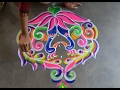 Download Peacock rangoli design with 7x4 dots // peacock kolam designs with dots // Alpana designs Video