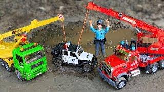 Download Police Cars, Excavator, Crane Truck Kids Toy Vehicles Video