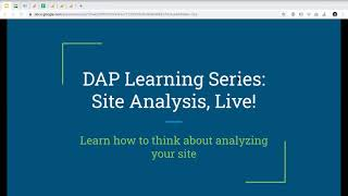 Download DAP Learning Series: Site Analysis, Live! Video