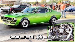 Download TURBO LEXUS V8 SWAPPED CELICA! 5TH GEN CAMARO CHOKES UP! BYRON DRAGWAY! Video