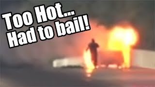 Download Terrifying Car FIRE - Driver BAILS While Moving! Video