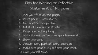 Download 10 Tips for Writing an Effective Statement of Purpose Video