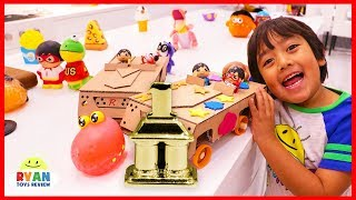 Download DIY Race Car Ryan Pretend Play | How to make Homemade toy car out of cardboard for kids!!! Video