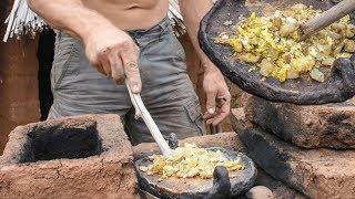 Download Primitive Potato & Egg Breakfast on Adobe Rocket Stove Video