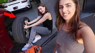 Download Teaching my girlfriend how to change a tire Video