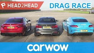 Download BMW M3 v Mercedes-AMG C63 S v Alfa Romeo Giulia QV - DRAG RACE, BRAKE & DRIFT OFF | Head2Head Video