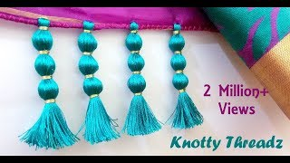 Download How to make Saree Kuchu Design using Silk Thread - Beaded Design at Home | Tutorial !! Video