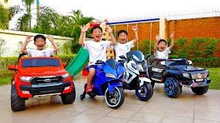 Download [1시간] 예준이와 아빠의 전동 자동차 장난감 어린이 놀이터 색깔놀이 연속보기 Video for Kids Power Wheel Car Video