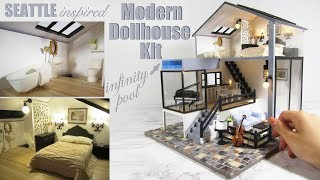 Download DIY Miniature Seattle Dollhouse Kit (with pool and lights!) Video
