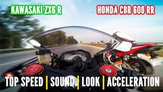 Download Honda CBR 600 RR vs Kwasaki ZX6R - Top speed, price, sound & more... Video
