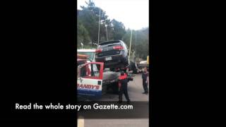 Download Sky high hauling job of car from a Colorado Springs resort pool Video