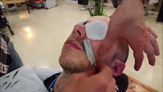 Download Relaxing Barber face Shave and Massage with Cotton Pads and hot towel - ASMR Binaural Video