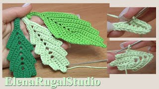 Download How To Crochet Two-Side Leaf With Chain Spaces Tutorial 1 Folha simples de crochê Video