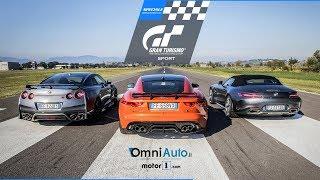 Download Nissan GT-R v Mercedes AMG GT v Jaguar F-Type. Una drag race con le auto di Sony GT Sport! Video