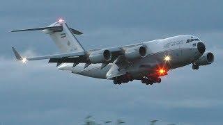 Download Kuwait Air Force Boeing C17A Globemaster III Dusk Landing at Prestwick Airport Video
