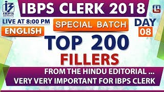Download Top 200 | Fillers | Day 08 | IBPS Clerk 2018 | English | Live at 8:00 pm Video