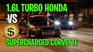 Download SuperCharged Corvette vs Turbo Honda Civic | $1600 Video