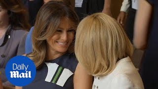 Download Melania Trump chats cheerfully with Brigitte Macron in Brussels Video
