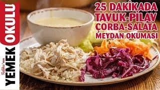 Download 15 Liraya 4 Kişilik Yemek Hazırlama | 25 Dakikada Tavuk-Pilav, Çorba ve Salata Menüsü Video