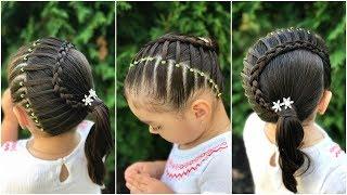 Download Peinado para niñas con ligas y trenza en media luna|Peinados fáciles y rápidos para niñas|LPH Video