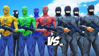 Download Spider-Man, Green Spiderman, Blue Spiderman, Yellow Spiderman, Black Spiderman VS RoboCop Army Video