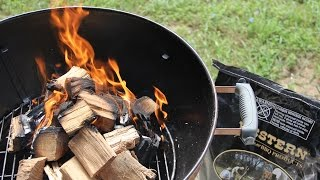 Download Natural Wood cooking on a Charcoal Grill Video