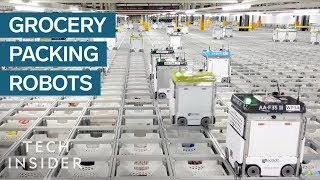 Download Inside A Warehouse Where Thousands Of Robots Pack Groceries Video