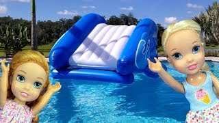 Download Water Slide ! Elsa and Anna toddlers - pool playdate - Barbie - floaties - swim - water fun - splash Video