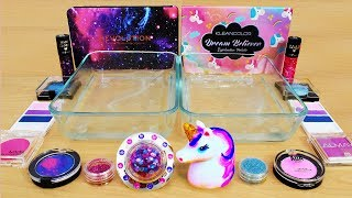 Download Galaxy vs Unicorn - Mixing Makeup Eyeshadow Into Slime! Special Series 89 Satisfying Slime Video Video
