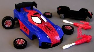 Download Ridemakerz Spiderman Xtreme Custom Car Starter Kit From Marvel how-to Buildable Toys Review Video