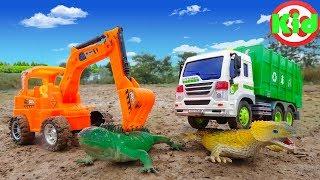 Download Xe ô tô chở rác, máy xúc và thằn lằn - đồ chơi trẻ em B335V Kid Studio Video