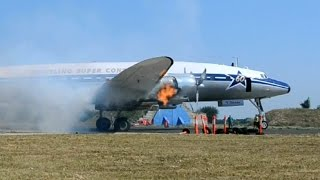 Download Super Constellation cold engine start and take off at Tököl, Hungary Video