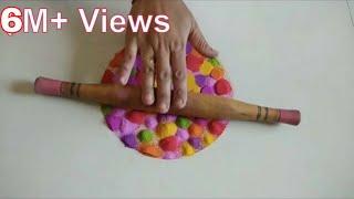 Download बेलन के साथ दिवाली की आसान रंगोली tulsivivah Special Rangoli using comb Video