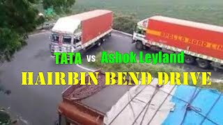 Download Tata Containers vs Ashok Leyland 3118 Hill road driving. Watch till end Video