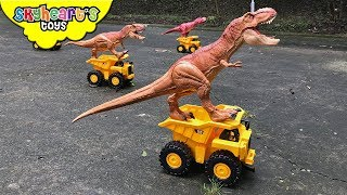 Download DINOSAURS VS TODDLER: Nerf War Part 3 | Skyheart and Daddy defeats dinosaur toys for kids Video