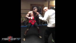 Download ADRIEN BRONER hitting the mitts looking ripped for MIKEY GARCIA fight Video