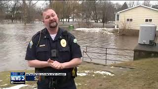 Download Flooding at Little Sugar River leaves Monticello underwater Video