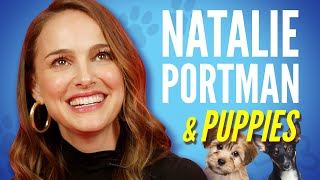 Download Natalie Portman Plays With Puppies While Answering Fan Questions Video